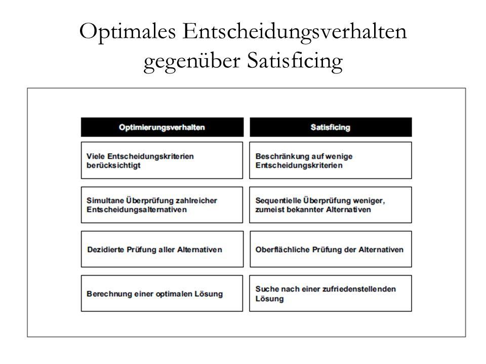 Optimales Entscheidungsverhalten gegenüber Satisficing