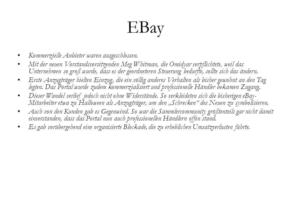 EBay Kommerzielle Anbieter waren ausgeschlossen. Mit der neuen Vorstandsvorsitzenden Meg Whitman, die Omidyar verpflichtete, weil das Unternehmen so g