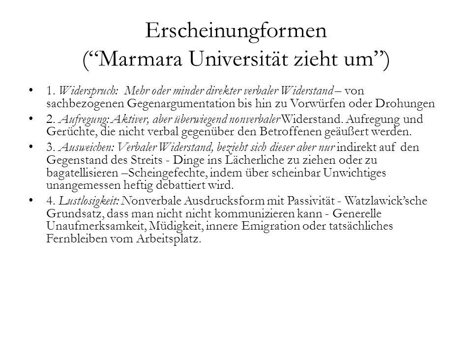 """Erscheinungformen (""""Marmara Universität zieht um"""") 1. Widerspruch: Mehr oder minder direkter verbaler Widerstand – von sachbezogenen Gegenargumentatio"""