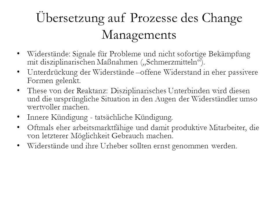 """Übersetzung auf Prozesse des Change Managements Widerstände: Signale für Probleme und nicht sofortige Bekämpfung mit disziplinarischen Maßnahmen (""""Sch"""