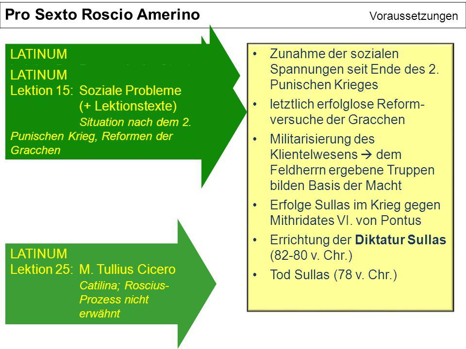 Pro Sexto Roscio Amerino Voraussetzungen Zunahme der sozialen Spannungen seit Ende des 2. Punischen Krieges letztlich erfolglose Reform- versuche der