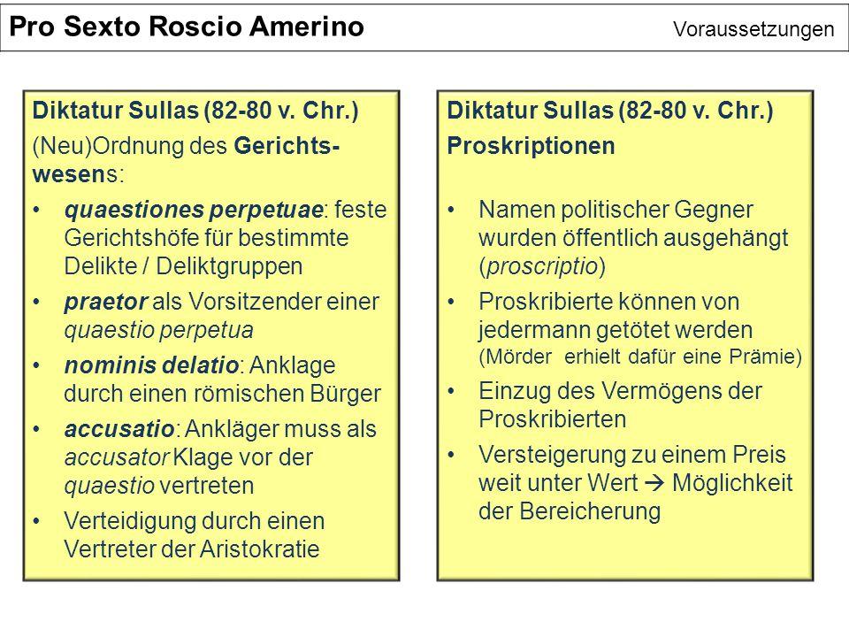Pro Sexto Roscio Amerino Voraussetzungen Diktatur Sullas (82-80 v. Chr.) (Neu)Ordnung des Gerichts- wesens: quaestiones perpetuae: feste Gerichtshöfe