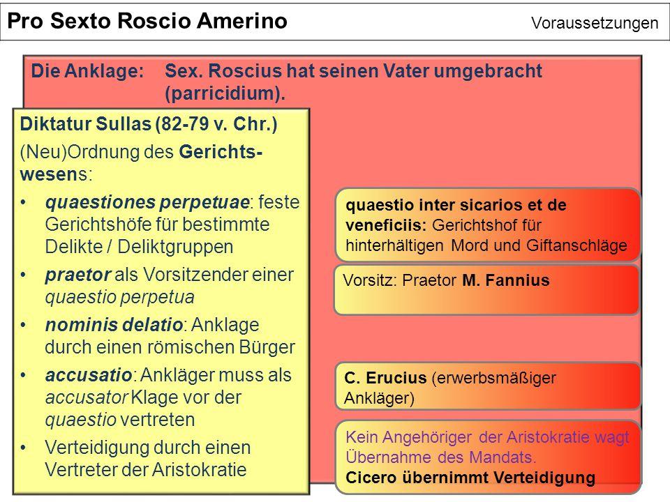 Pro Sexto Roscio Amerino Voraussetzungen Die Anklage:Sex. Roscius hat seinen Vater umgebracht (parricidium). Diktatur Sullas (82-79 v. Chr.) (Neu)Ordn