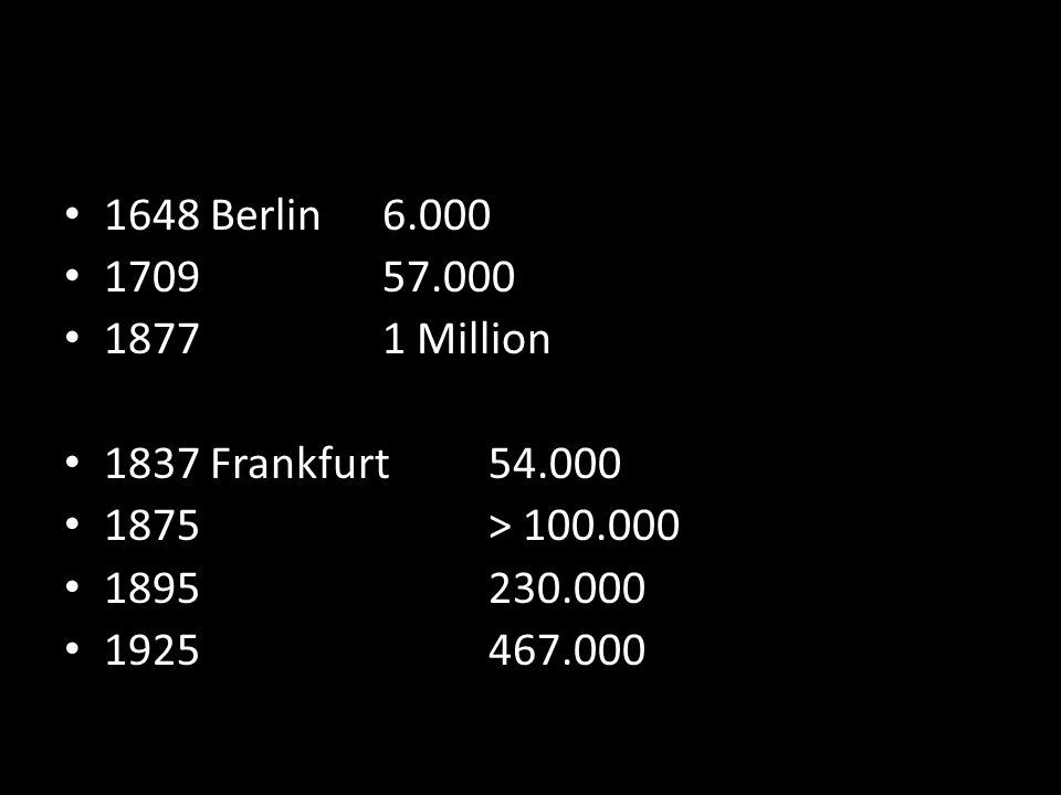 1648 Berlin6.000 170957.000 18771 Million 1837 Frankfurt54.000 1875> 100.000 1895230.000 1925467.000