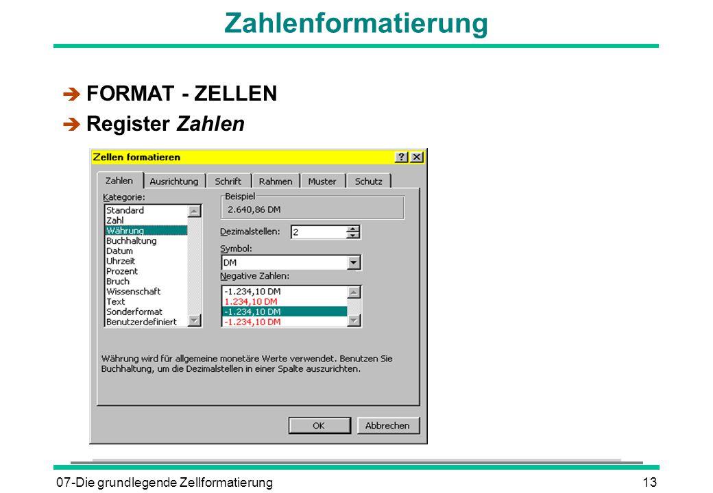 07-Die grundlegende Zellformatierung13 Zahlenformatierung è FORMAT - ZELLEN è Register Zahlen
