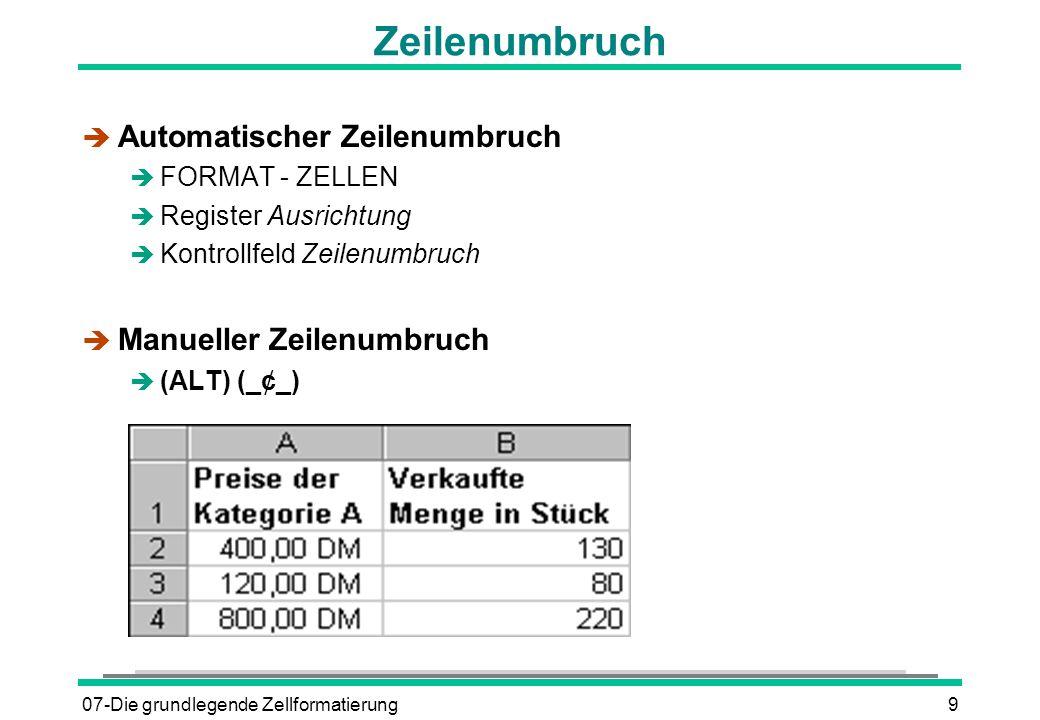 07-Die grundlegende Zellformatierung9 Zeilenumbruch è Automatischer Zeilenumbruch è FORMAT - ZELLEN è Register Ausrichtung è Kontrollfeld Zeilenumbruch è Manueller Zeilenumbruch  (ALT) (_¢_)