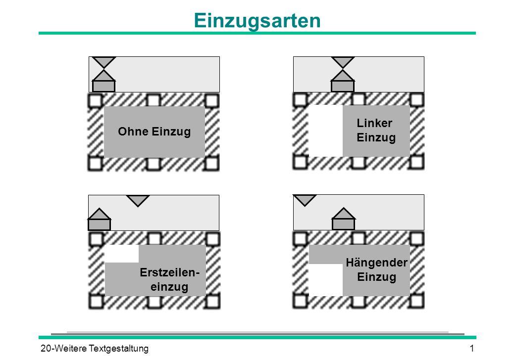 20-Weitere Textgestaltung1 Einzugsarten Ohne Einzug Hängender Einzug Linker Einzug Erstzeilen- einzug