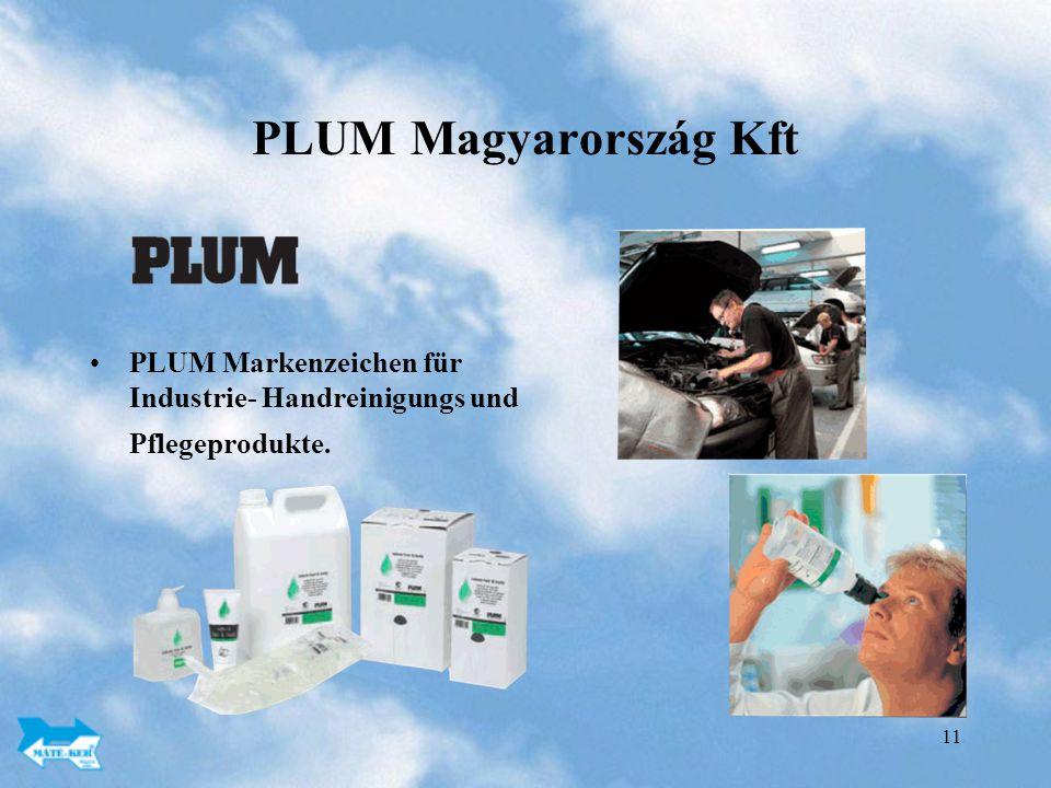 11 PLUM Magyarország Kft PLUM Markenzeichen für Industrie- Handreinigungs und Pflegeprodukte.