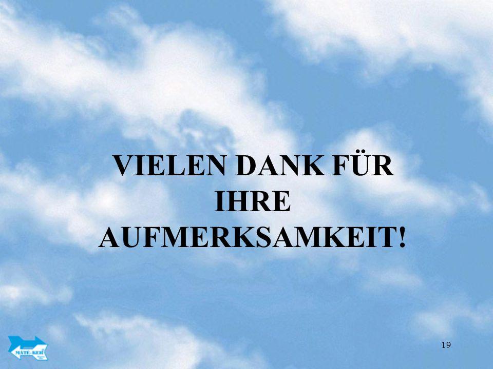 19 VIELEN DANK FÜR IHRE AUFMERKSAMKEIT!