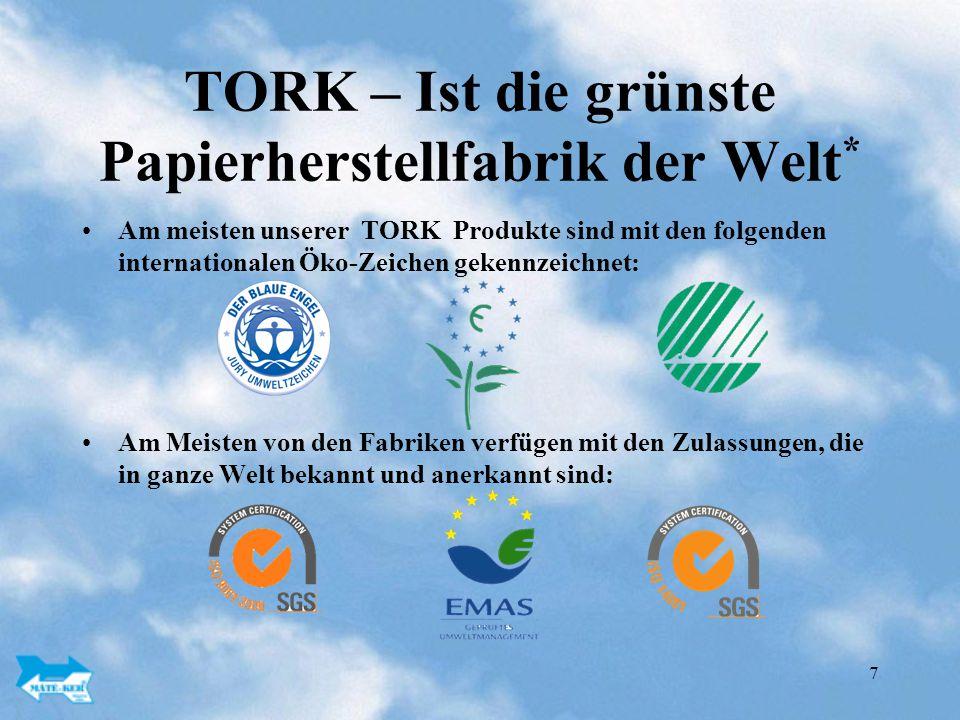 7 TORK – Ist die grünste Papierherstellfabrik der Welt * Am meisten unserer TORK Produkte sind mit den folgenden internationalen Öko-Zeichen gekennzeichnet: Am Meisten von den Fabriken verfügen mit den Zulassungen, die in ganze Welt bekannt und anerkannt sind: