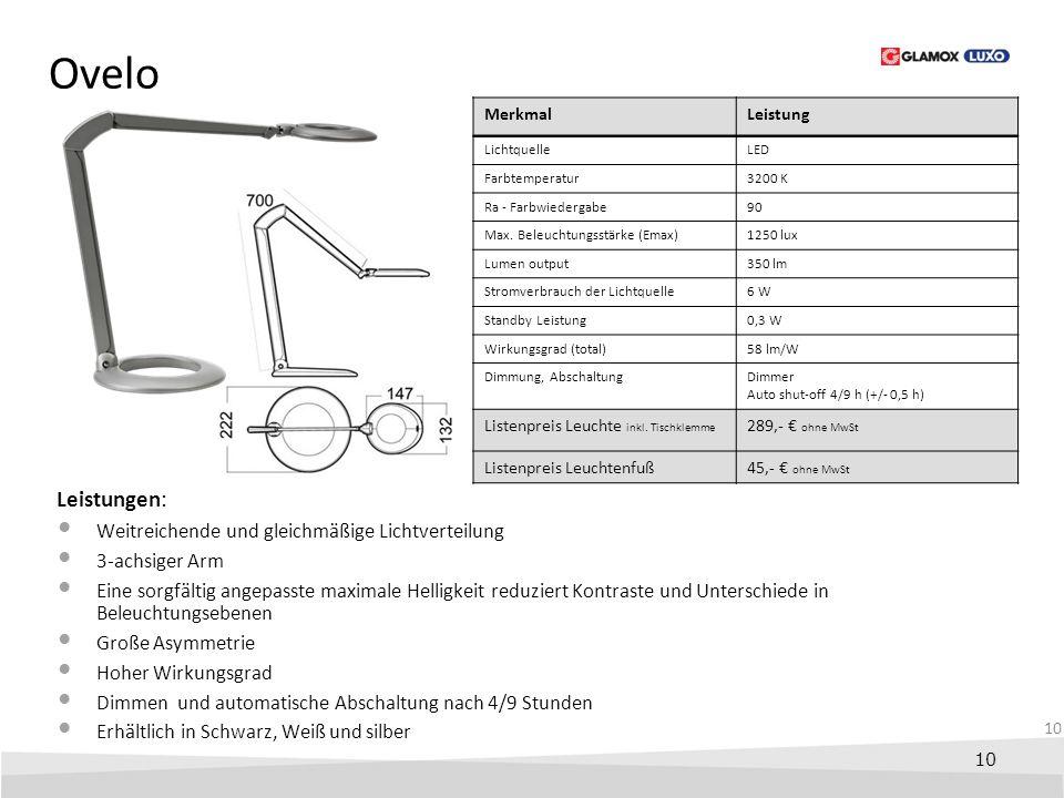 10 Ovelo Leistungen: Weitreichende und gleichmäßige Lichtverteilung 3-achsiger Arm Eine sorgfältig angepasste maximale Helligkeit reduziert Kontraste
