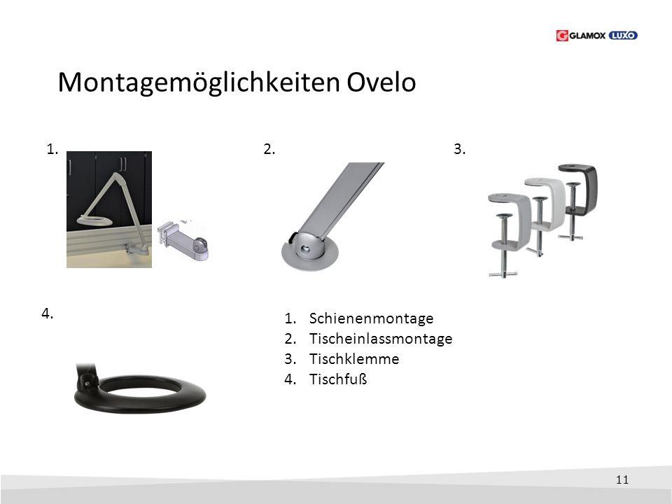 11 Montagemöglichkeiten Ovelo 1.3. 4. 1.Schienenmontage 2.Tischeinlassmontage 3.Tischklemme 4.Tischfuß 2.