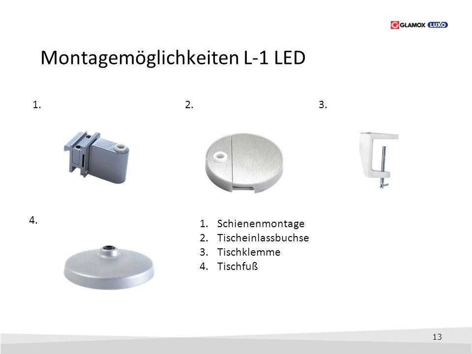 13 Montagemöglichkeiten L-1 LED 1.3. 4. 1.Schienenmontage 2.Tischeinlassbuchse 3.Tischklemme 4.Tischfuß 2.