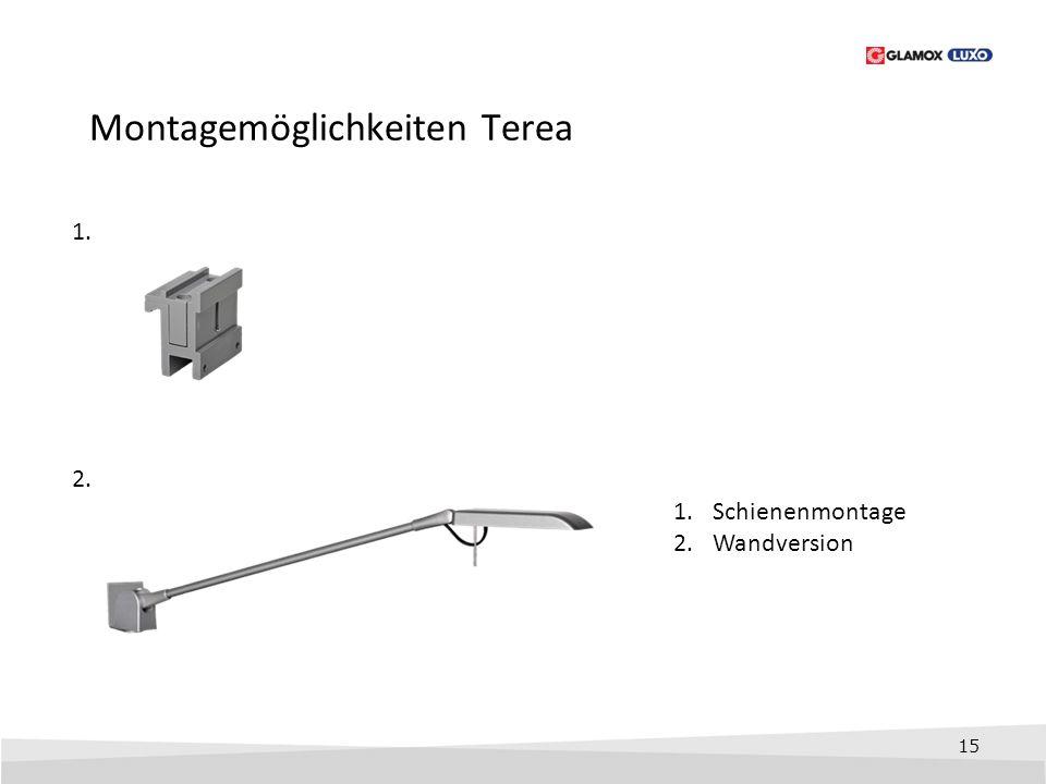 15 Montagemöglichkeiten Terea 1. 1.Schienenmontage 2.Wandversion 2.