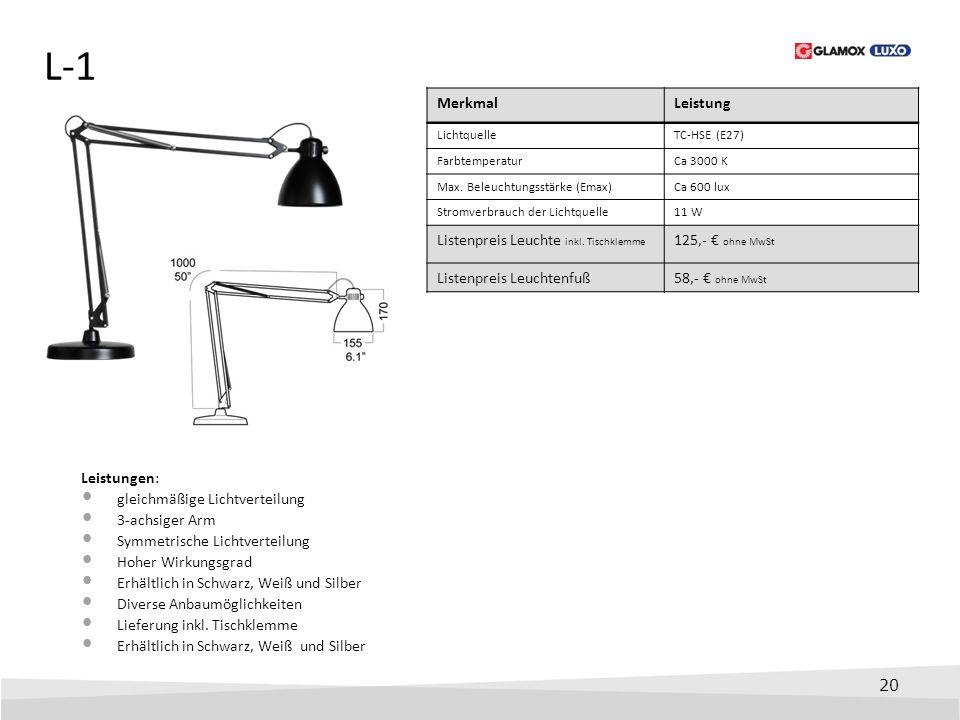 20 L-1 Leistungen: gleichmäßige Lichtverteilung 3-achsiger Arm Symmetrische Lichtverteilung Hoher Wirkungsgrad Erhältlich in Schwarz, Weiß und Silber