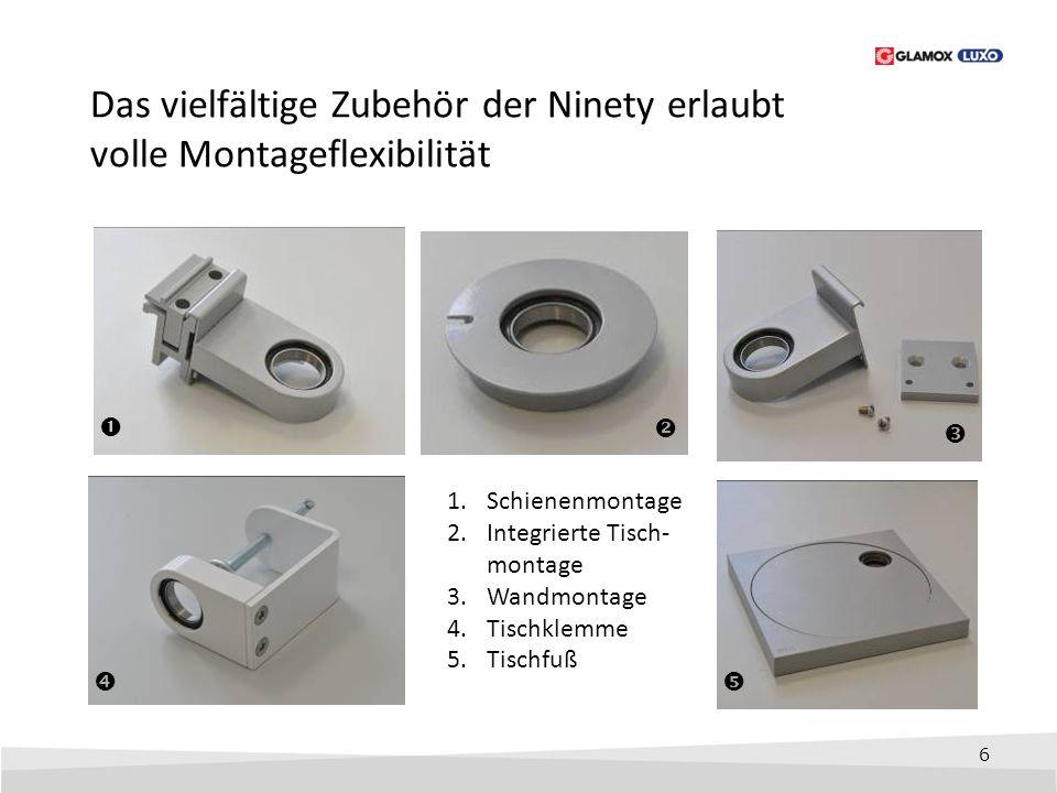 6 Das vielfältige Zubehör der Ninety erlaubt volle Montageflexibilität      1.Schienenmontage 2.Integrierte Tisch- montage 3.Wandmontage 4.Tischk