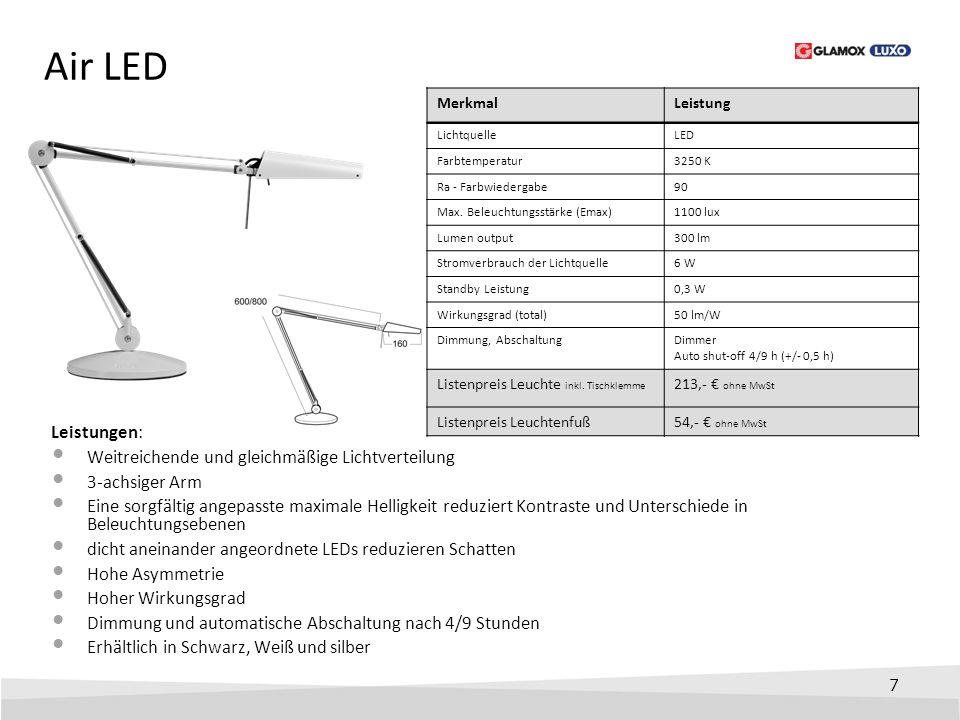 7 Air LED Leistungen: Weitreichende und gleichmäßige Lichtverteilung 3-achsiger Arm Eine sorgfältig angepasste maximale Helligkeit reduziert Kontraste