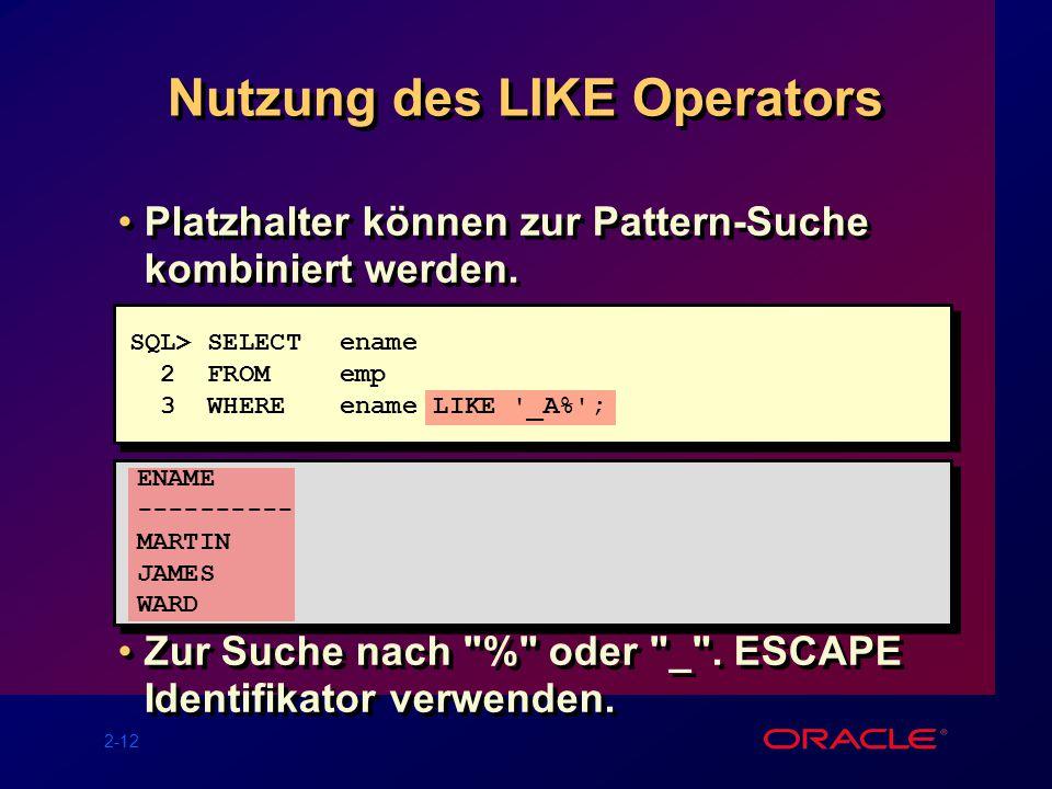 2-12 Nutzung des LIKE Operators Platzhalter können zur Pattern-Suche kombiniert werden.