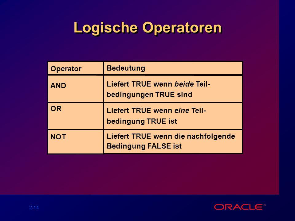 2-14 Logische Operatoren Operator AND OR NOT Bedeutung Liefert TRUE wenn beide Teil- bedingungen TRUE sind Liefert TRUE wenn eine Teil- bedingung TRUE ist Liefert TRUE wenn die nachfolgende Bedingung FALSE ist