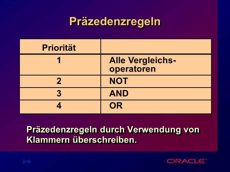 2-18 Präzedenzregeln Präzedenzregeln durch Verwendung von Klammern überschreiben.