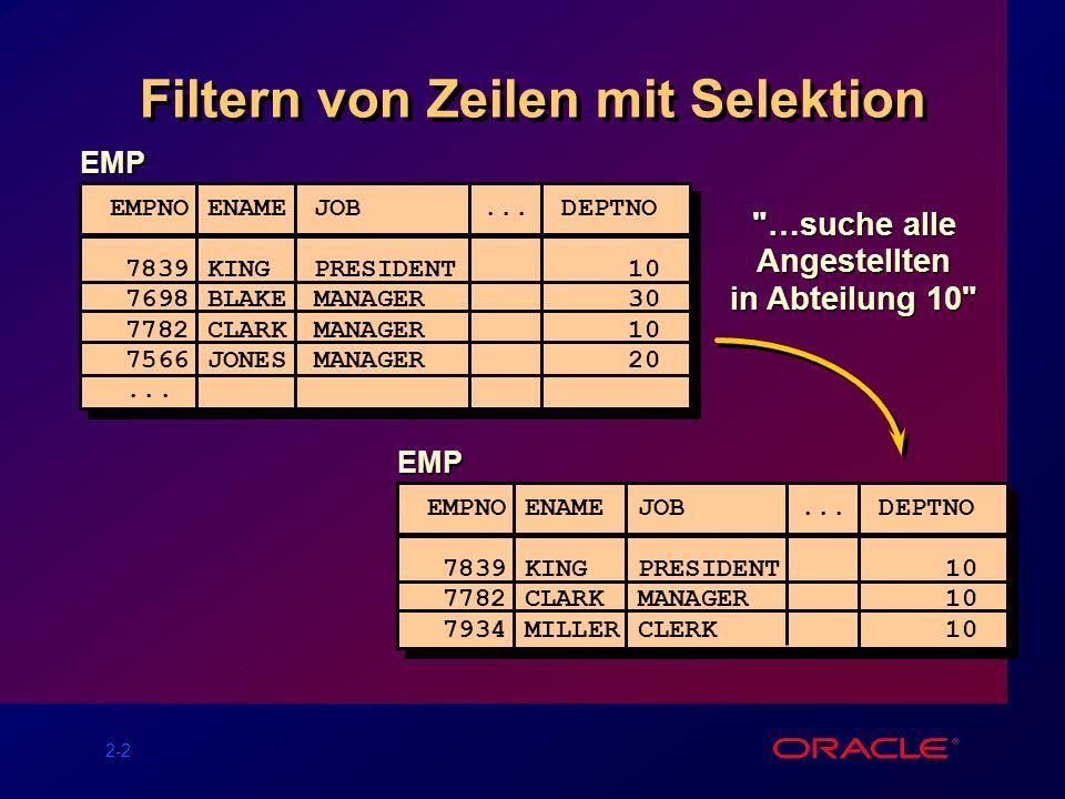 2-2 Filtern von Zeilen mit Selektion …suche alle Angestellten in Abteilung 10 EMP EMPNO ENAME JOB...