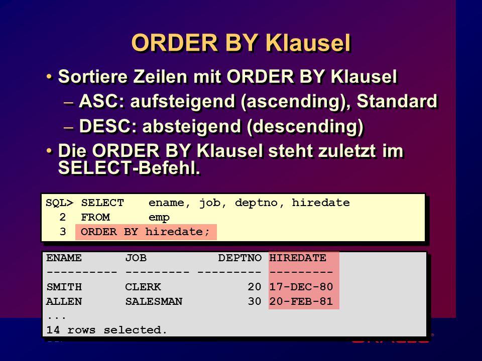 2-21 ORDER BY Klausel Sortiere Zeilen mit ORDER BY Klausel – ASC: aufsteigend (ascending), Standard – DESC: absteigend (descending) Die ORDER BY Klausel steht zuletzt im SELECT-Befehl.