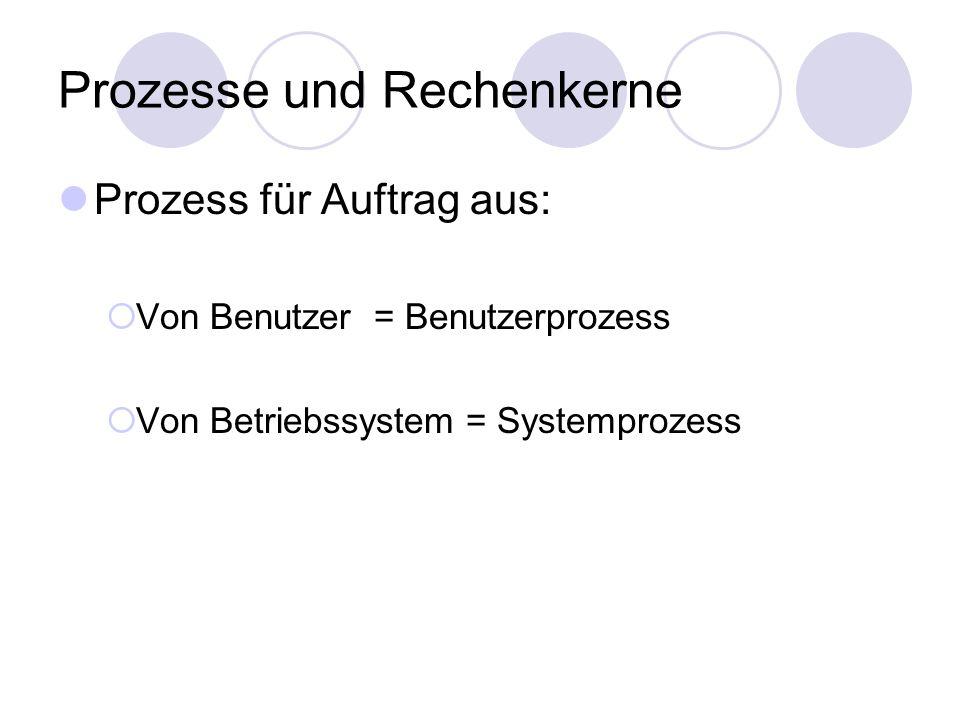 Prozesse und Rechenkerne Prozess für Auftrag aus:  Von Benutzer = Benutzerprozess  Von Betriebssystem = Systemprozess