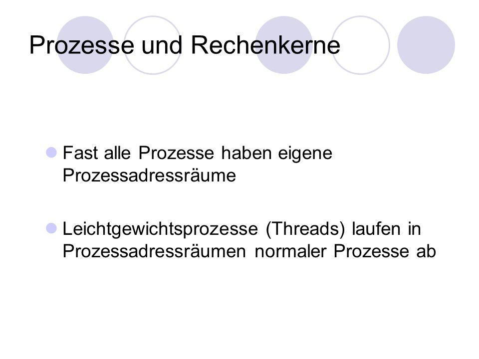 Prozesse und Rechenkerne Fast alle Prozesse haben eigene Prozessadressräume Leichtgewichtsprozesse (Threads) laufen in Prozessadressräumen normaler Pr