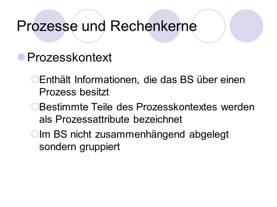 Prozesse und Rechenkerne Prozesskontext  Enthält Informationen, die das BS über einen Prozess besitzt  Bestimmte Teile des Prozesskontextes werden a