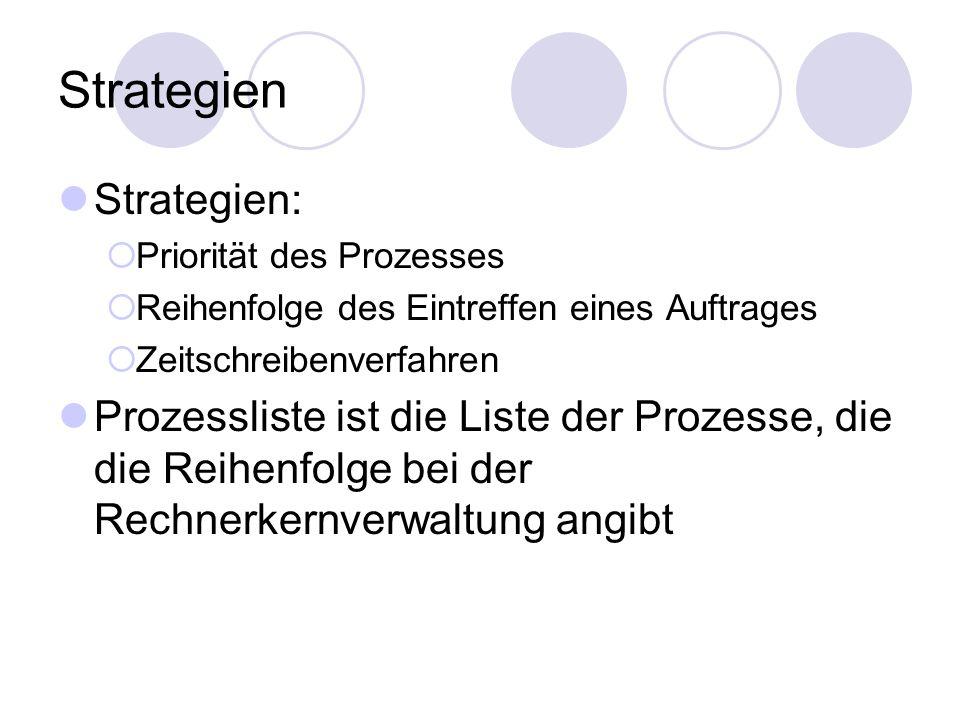 Strategien Strategien:  Priorität des Prozesses  Reihenfolge des Eintreffen eines Auftrages  Zeitschreibenverfahren Prozessliste ist die Liste der