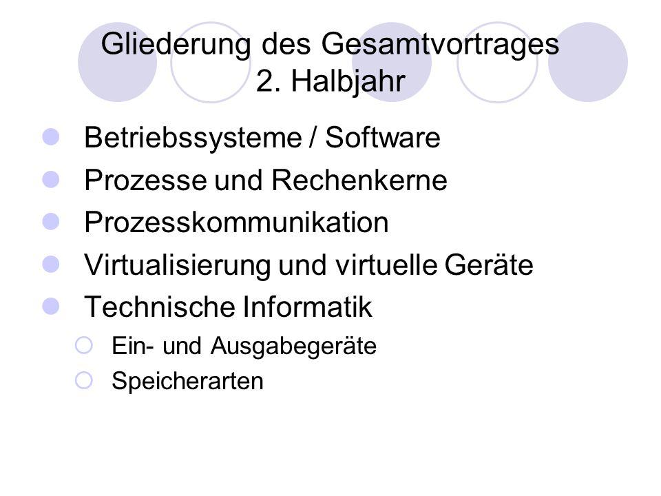 Gliederung des Gesamtvortrages 2. Halbjahr Betriebssysteme / Software Prozesse und Rechenkerne Prozesskommunikation Virtualisierung und virtuelle Gerä