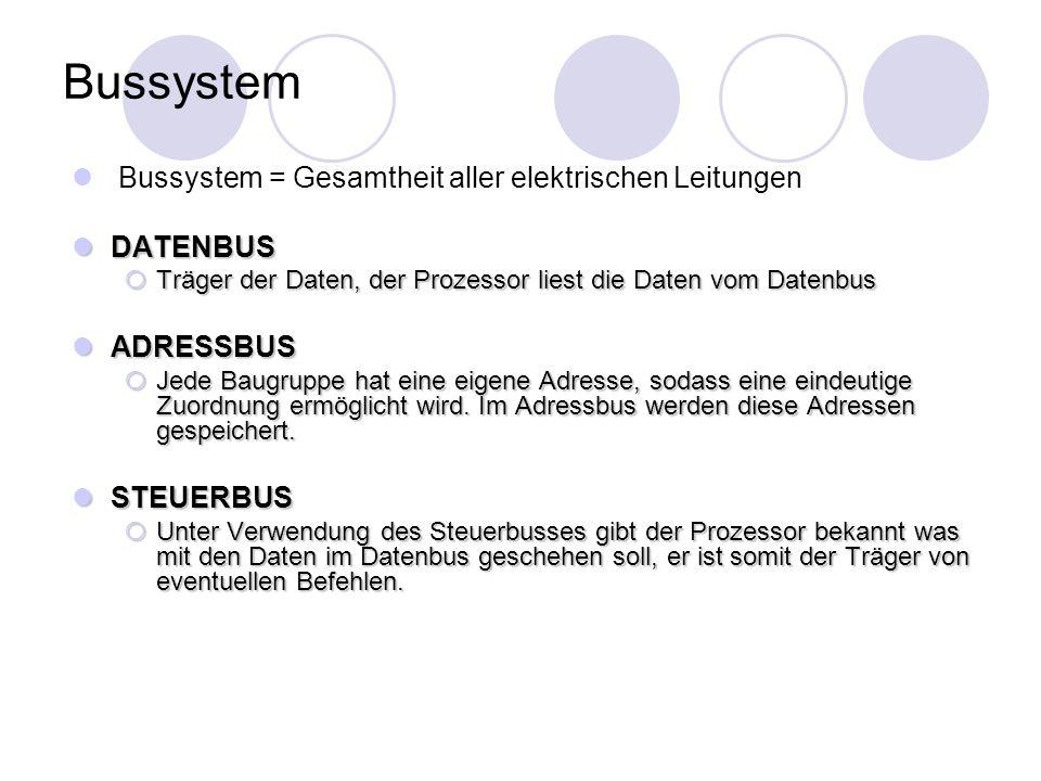 Bussystem Bussystem = Gesamtheit aller elektrischen Leitungen DATENBUS DATENBUS  Träger der Daten, der Prozessor liest die Daten vom Datenbus ADRESSB