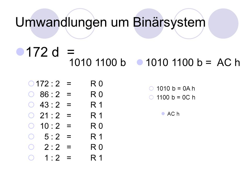 Umwandlungen um Binärsystem 172 d =  172 : 2 = R 0  86 : 2 = R 0  43 : 2 = R 1  21 : 2 = R 1  10 : 2 = R 0  5 : 2 = R 1  2 : 2 = R 0  1 : 2 =