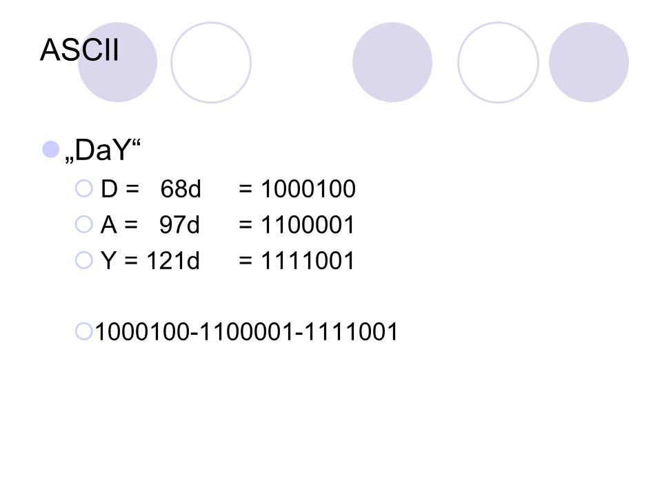 """ASCII """"DaY""""  D = 68d= 1000100  A = 97d = 1100001  Y = 121d = 1111001  1000100-1100001-1111001"""