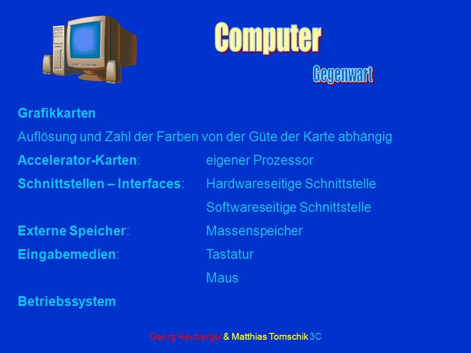 Georg Heuberger & Matthias Tomschik 3C Arbeitsspeicher: ROM:die Daten bleiben nach dem Ausschalten erhalten RAM:die Daten gehen nach dem Ausschalten v