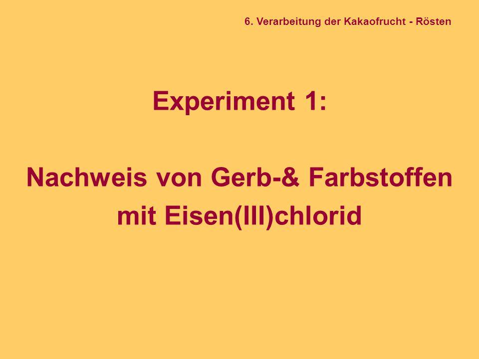 Experiment 1: Nachweis von Gerb-& Farbstoffen mit Eisen(III)chlorid 6. Verarbeitung der Kakaofrucht - Rösten