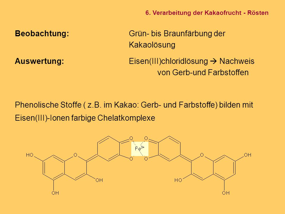 Beobachtung:Grün- bis Braunfärbung der Kakaolösung Auswertung:Eisen(III)chloridlösung  Nachweis von Gerb-und Farbstoffen Phenolische Stoffe ( z.B. im