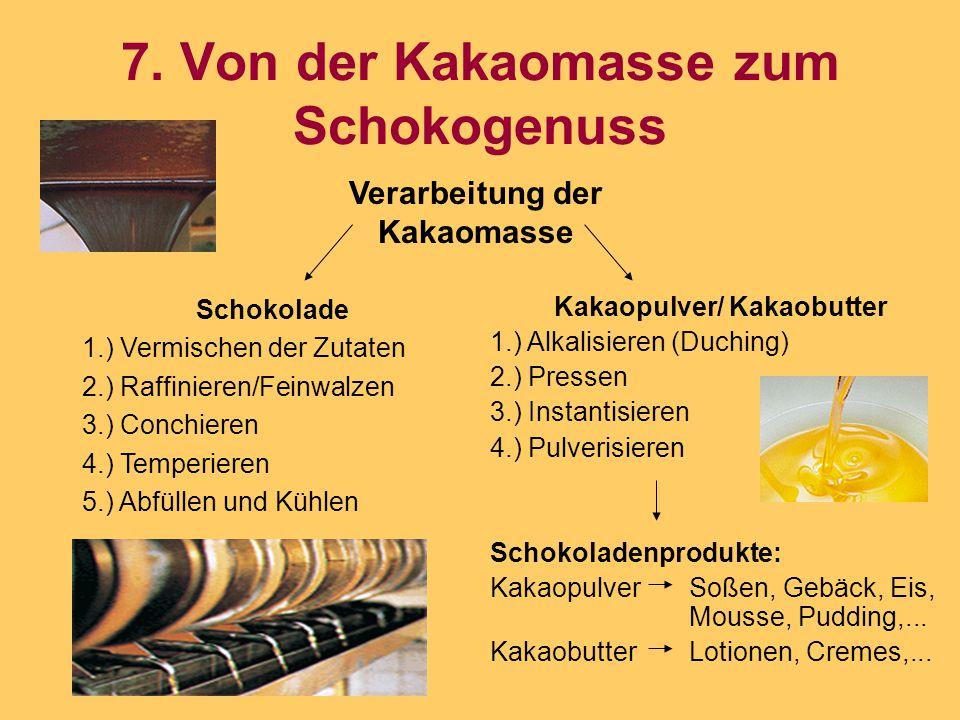 7. Von der Kakaomasse zum Schokogenuss Schokolade 1.) Vermischen der Zutaten 2.) Raffinieren/Feinwalzen 3.) Conchieren 4.) Temperieren 5.) Abfüllen un