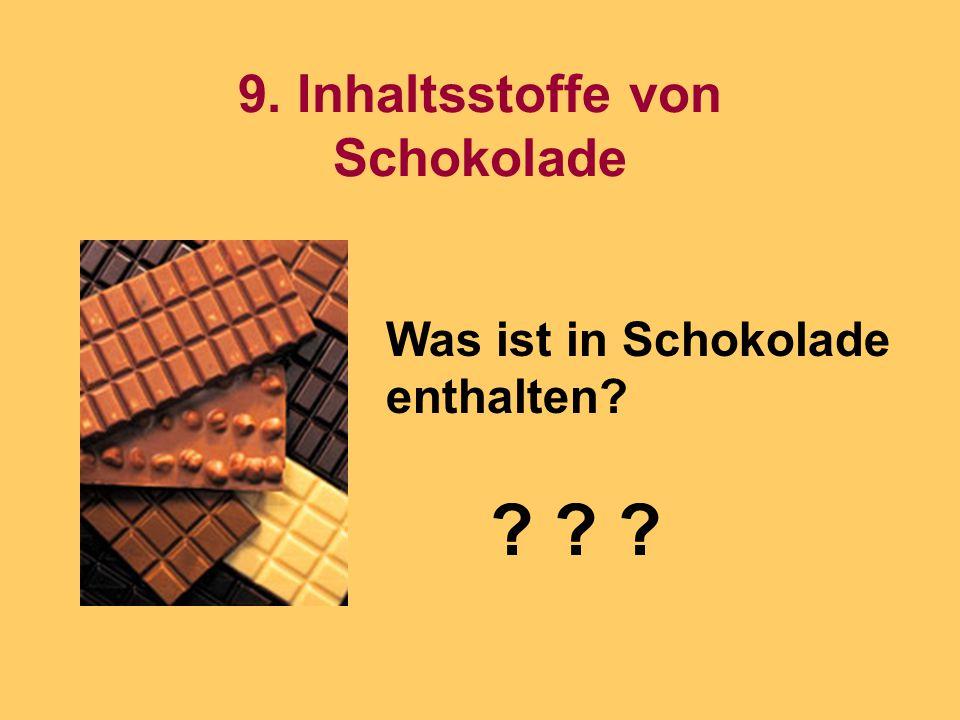 9. Inhaltsstoffe von Schokolade Was ist in Schokolade enthalten? ? ? ?