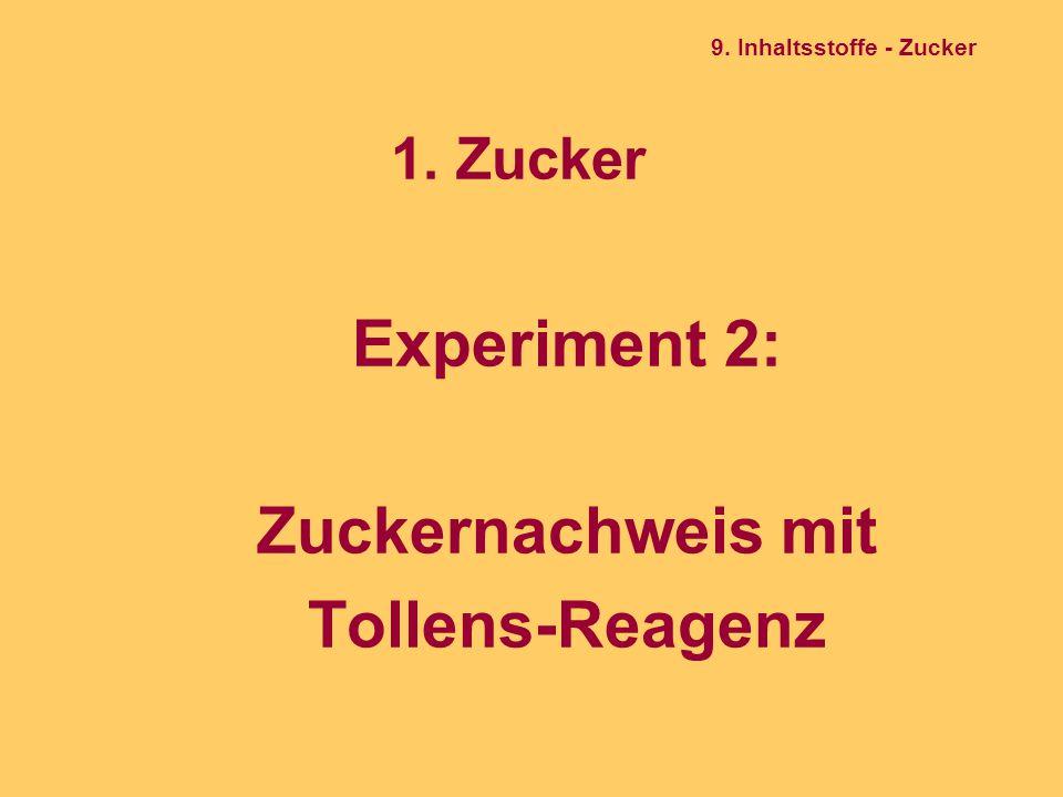1. Zucker Experiment 2: Zuckernachweis mit Tollens-Reagenz 9. Inhaltsstoffe - Zucker