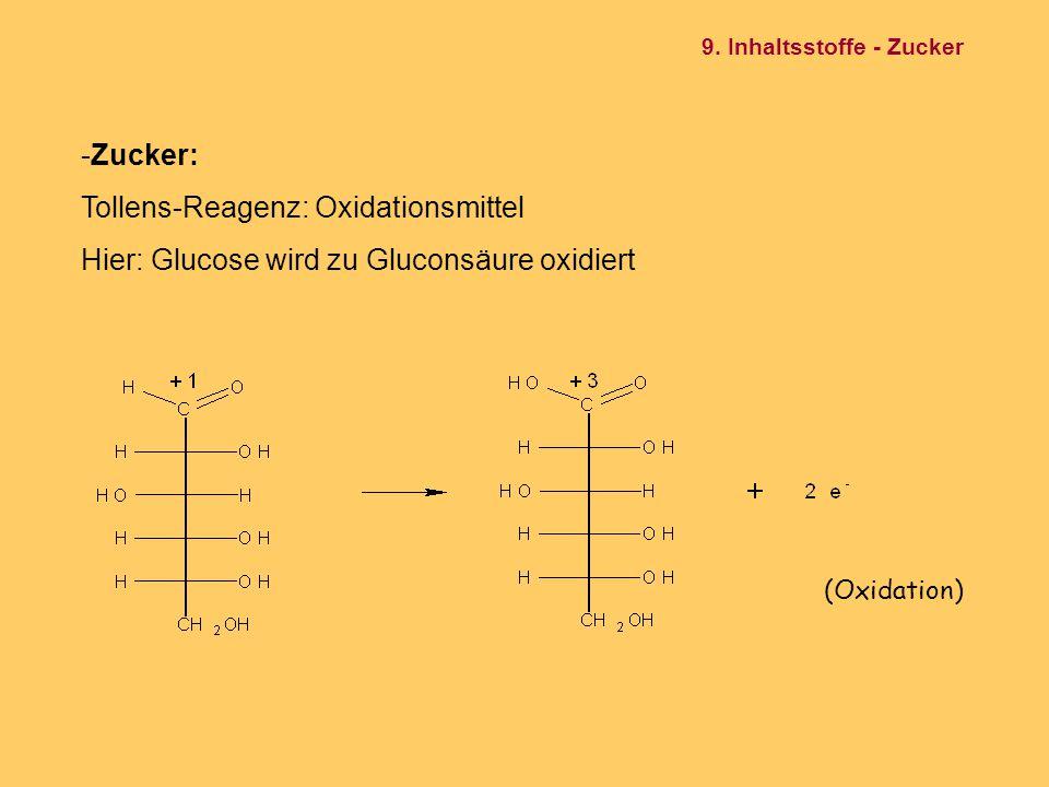 -Zucker: Tollens-Reagenz: Oxidationsmittel Hier: Glucose wird zu Gluconsäure oxidiert (Oxidation) 9. Inhaltsstoffe - Zucker