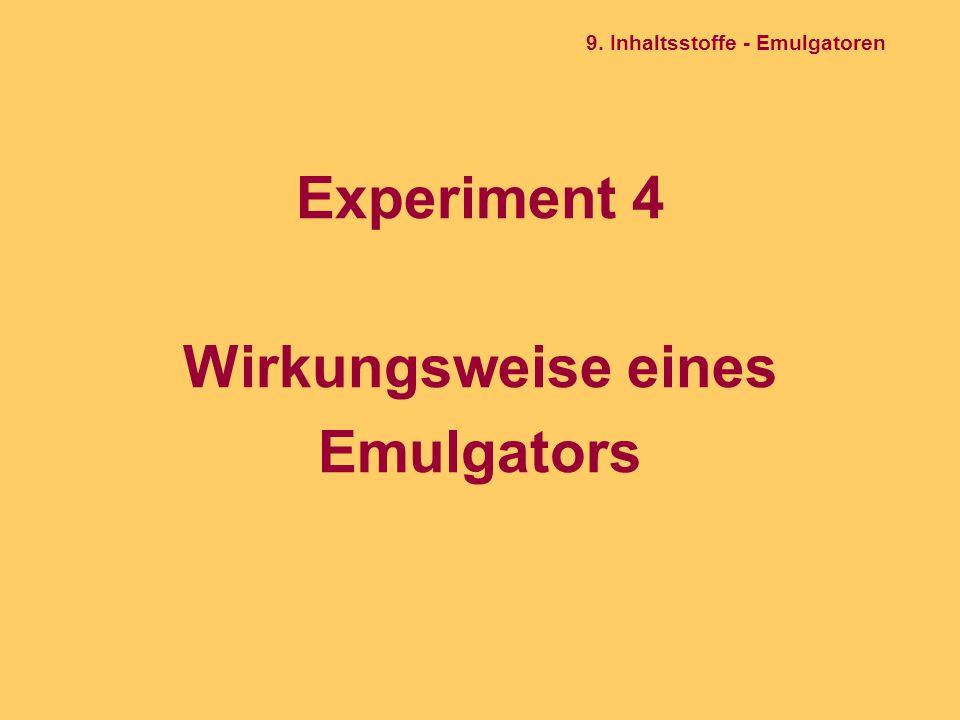 Experiment 4 Wirkungsweise eines Emulgators 9. Inhaltsstoffe - Emulgatoren