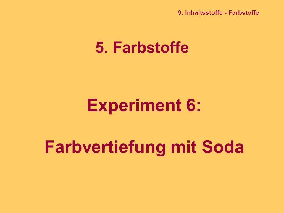 5. Farbstoffe Experiment 6: Farbvertiefung mit Soda 9. Inhaltsstoffe - Farbstoffe