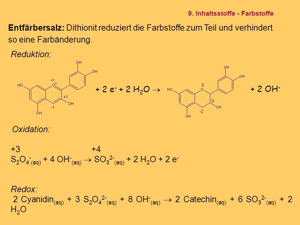 Oxidation: +3 +4 S 2 O 4 - (aq) + 4 OH - (aq)  SO 3 2- (aq) + 2 H 2 O + 2 e - Redox: 2 Cyanidin (aq) + 3 S 2 O 4 2- (aq) + 8 OH - (aq)  2 Catechin (