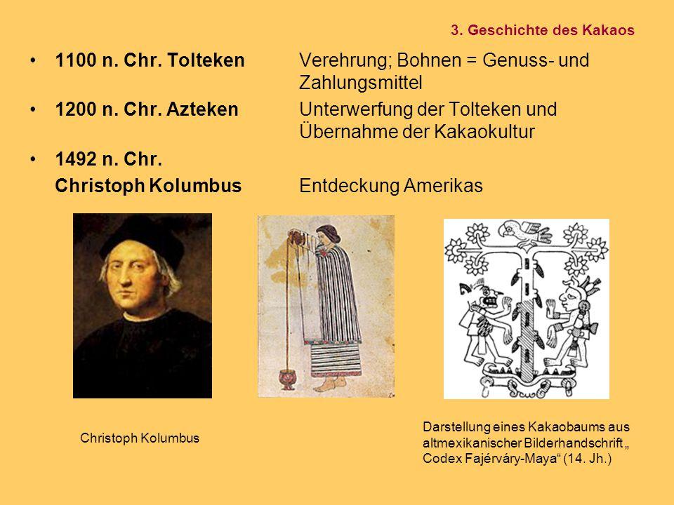 1100 n. Chr. ToltekenVerehrung; Bohnen = Genuss- und Zahlungsmittel 1200 n. Chr. AztekenUnterwerfung der Tolteken und Übernahme der Kakaokultur 1492 n