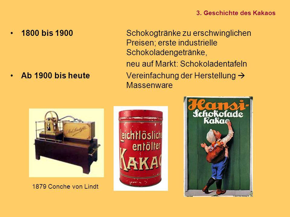 1800 bis 1900Schokogtränke zu erschwinglichen Preisen; erste industrielle Schokoladengetränke, neu auf Markt: Schokoladentafeln Ab 1900 bis heuteVerei