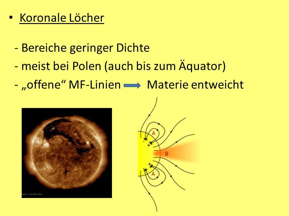 """Koronale Löcher - Bereiche geringer Dichte - meist bei Polen (auch bis zum Äquator) - """"offene"""" MF-Linien Materie entweicht"""