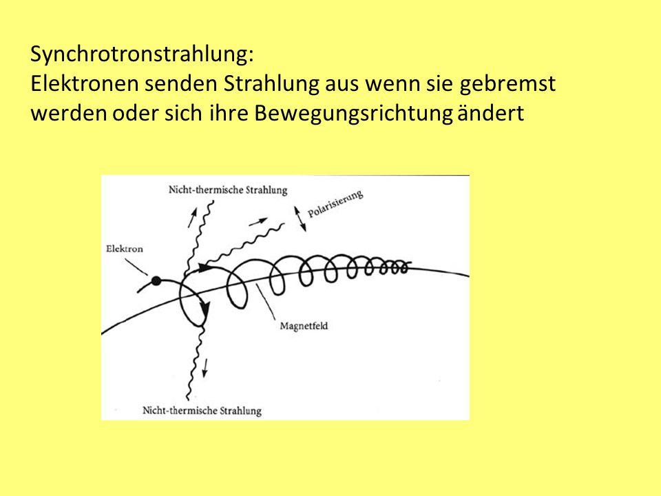 Synchrotronstrahlung: Elektronen senden Strahlung aus wenn sie gebremst werden oder sich ihre Bewegungsrichtung ändert