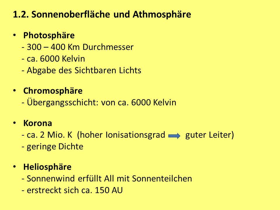 1.2. Sonnenoberfläche und Athmosphäre Photosphäre - 300 – 400 Km Durchmesser - ca. 6000 Kelvin - Abgabe des Sichtbaren Lichts Chromosphäre - Übergangs