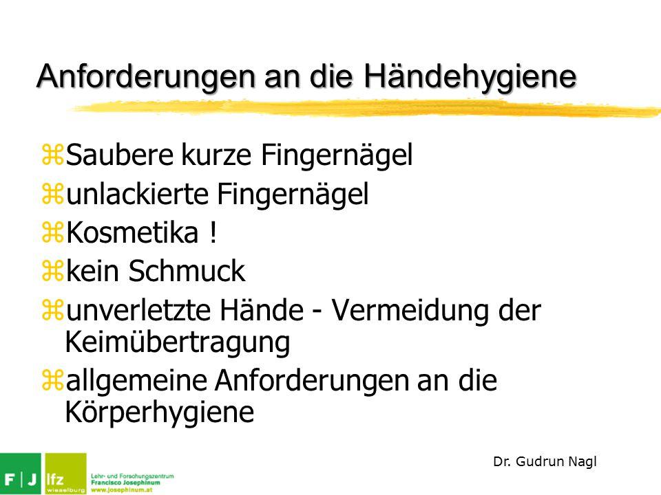 Anforderungen an die Händehygiene zSaubere kurze Fingernägel zunlackierte Fingernägel zKosmetika .